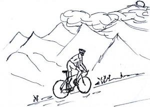 Wielrenner op de berg